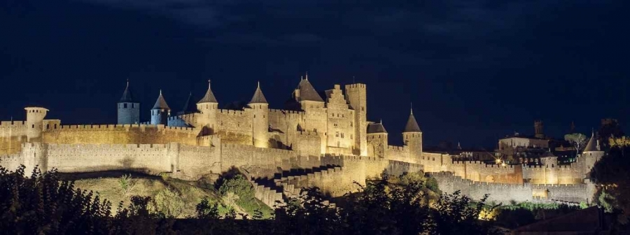 Medieval city of Carcassonne by night